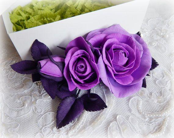 Violet realistic flowers Lilac barrette Violet by FloraFantasyIZ