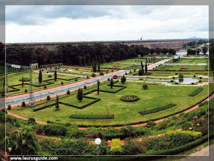 The Brindavan Gardens, a celebrated beauty spot in this part of India is world famous for its symmetric design. It is one of the most beautifully laid out terrace gardens in the world. Modeled on the design of the Shalimar Gardens of Kashmir in the Mughal style, the garden is enriched with a number of terraces, parterres, fountains, running and cascading waterchannels, water chutes, lush green lawns, flower beds, shrubs and trees.