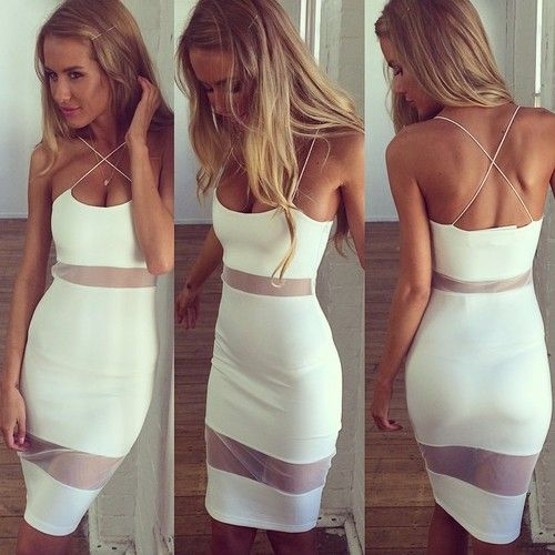 Sexy white summer cocktail dress