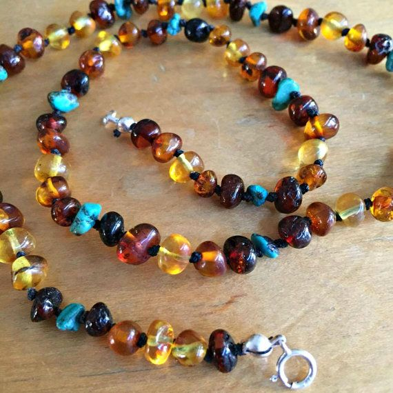 Turquoise and Amber Necklace for adults by FunkyBirdieAmber