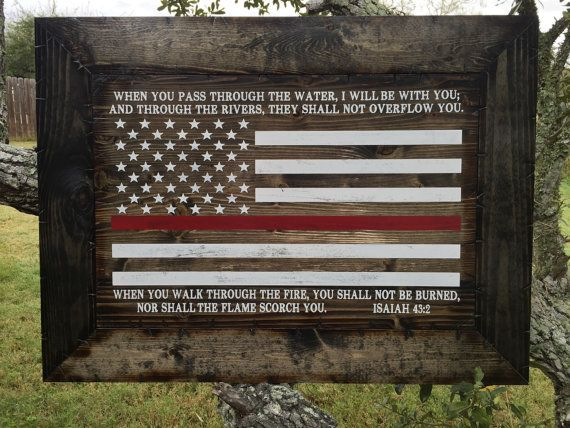 Firefighters Thin Red Line Framed Rustic by CowboyCapitalSigns