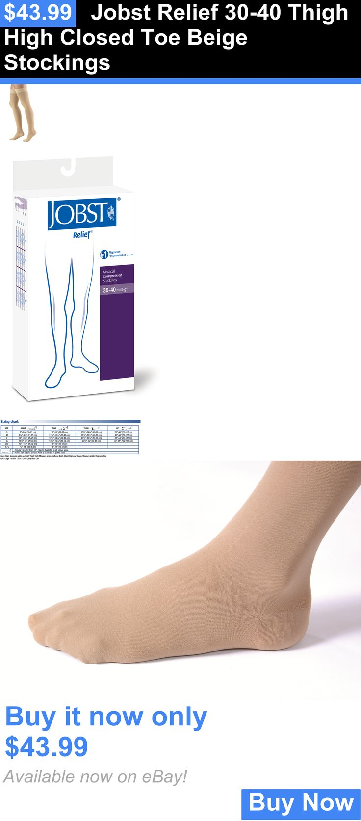 Compression Garments: Jobst Relief 30-40 Thigh High Closed Toe Beige Stockings BUY IT NOW ONLY: $43.99