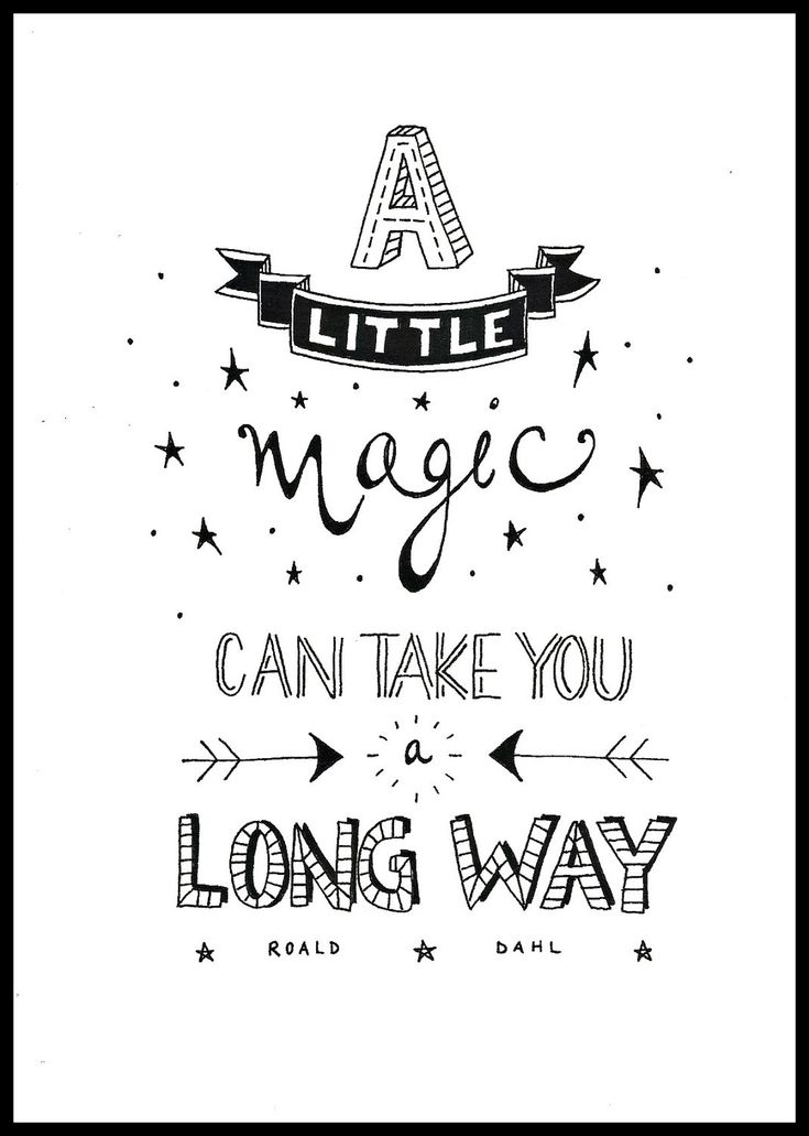 Limited edition black and white typography print - A Little Magic. £12.00, via Etsy.