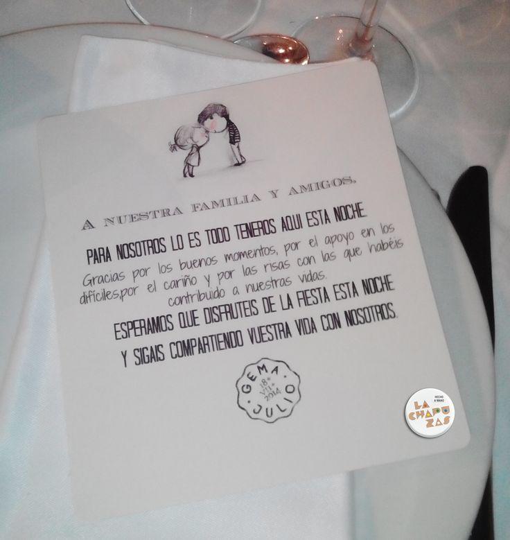 Tarjeta de agradecimiento, para los invitados. lachapuzas.blogspot.com
