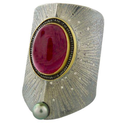 Peter Schmid from Aaron Farber Gallery -   Tourmaline Diamond Cuff Bracelet