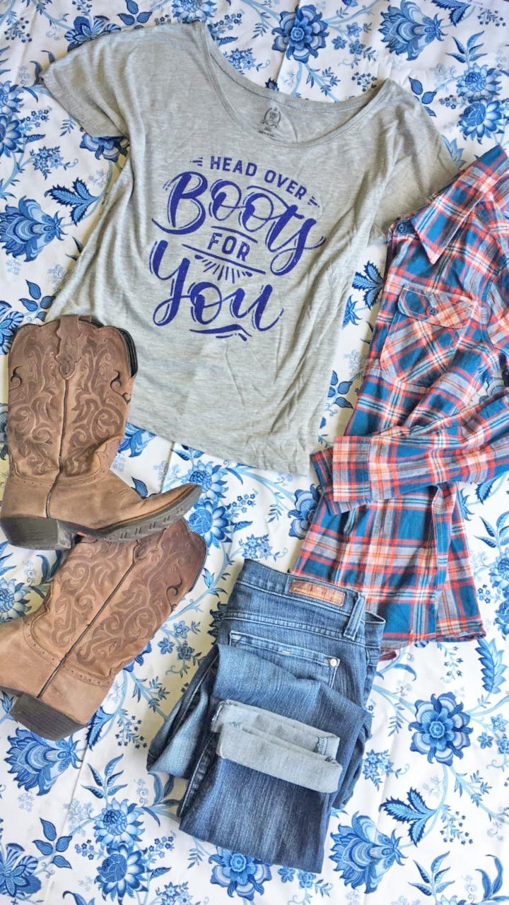 Aww so cute! I'm Head over Boots for You tee! Cutest country clothing for country music concert and country festivals!