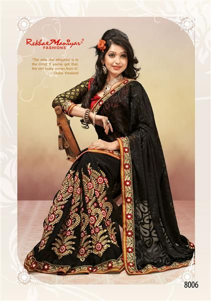 The ever Demanding Black & black combination has been trended Up once again by RekhaManiyar Fashions. Make yourself Look Different in all your ocassions and parties glaming up with this exclusive black saree which comprises of exellent combination of zari and thread work on the border and the patli part of the saree. the saree has also been provided with an contrast FRONT and BACK blouse part and the SLEEVES part are OF VISCOSE making you look glamorous and Fashionable at all your occasions…