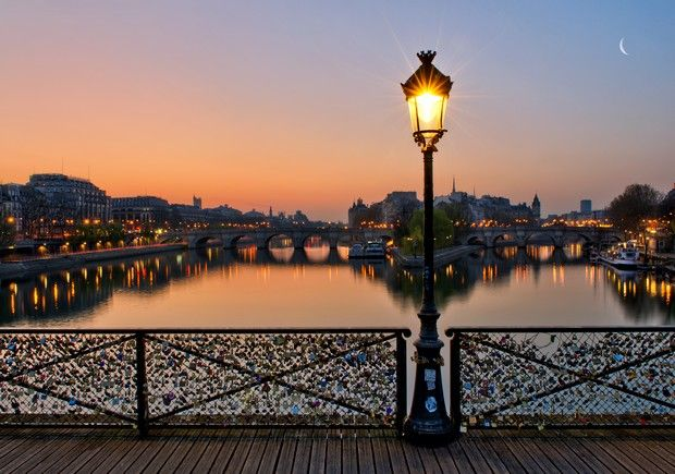 Destination Romance Week: PARIS | Blog | Epic Reads Per Amy Plum on Romantic Dates in Paris-  Bring a padlock inscribed with you and your true love's name on it to Pont des Arts. Lock it to the bridge's railing and throw the key into the Seine. (This is the time to give him a kiss.)