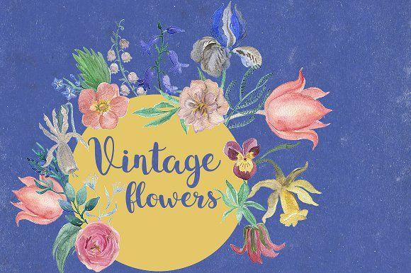 Vintage flowers by ramika on @creativemarket