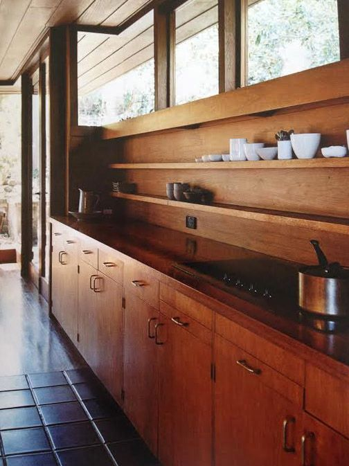 I like the long narrow shelves that run the length of the counter. I might put in bright tile instead of all wood though