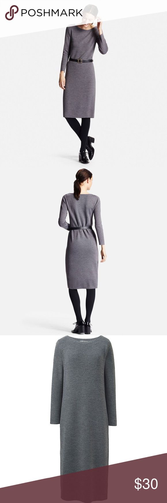 Grey Uniqlo Knit Column Dress Great closet staple and only worn once. It's very versatile -- you can easily dress it up with a belt and pumps or dress it down with sneakers and a denim jacket. It is a nice quality knit. Uniqlo Dresses