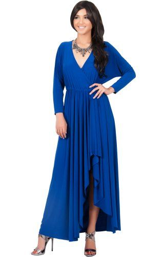 Awesome KOH KOH Womens Long Sleeve Slit Formal Fall Winter Cocktail Gowns Maxi Dress