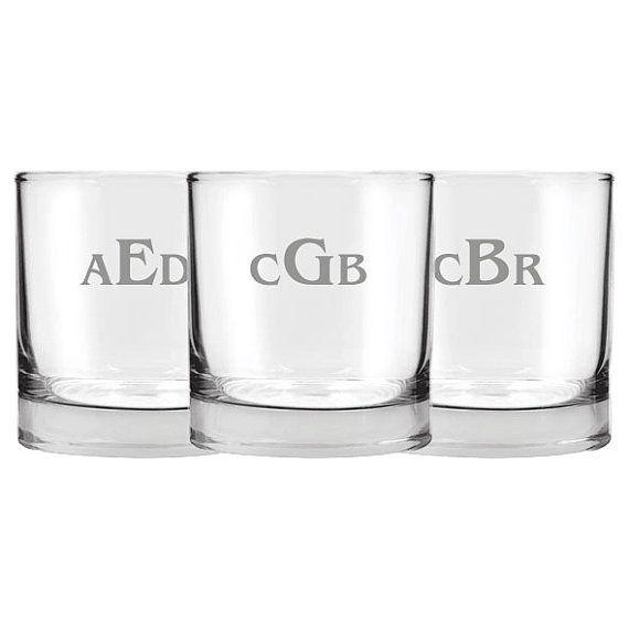 5 Personalized Rocks Glasses, Groomsmen Wedding Gift, Gifts for Him, Rocks Glasses, Custom Monogram Glasses, Whiskey Glass Set, Wedding Gift