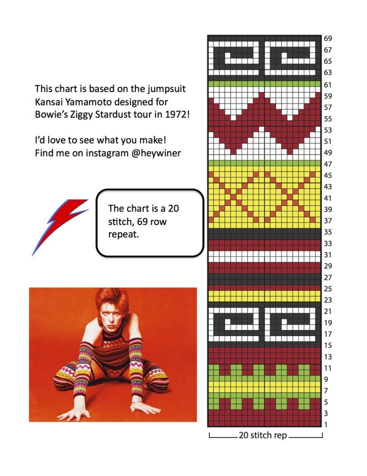 Bowie - Kansai Yamamoto | chart that can be used for knit, crochet, embroidery, cross-stitch, etc. Would make great hats, socks, arm warmers, leg warmers, sweaters...