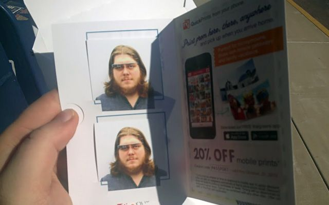 Ben Thornsberry had to redo his passport photos and took new shots while wearing his Google Glass.  When he went to the passport office to redo them, he was sent back to take new photos.  The question