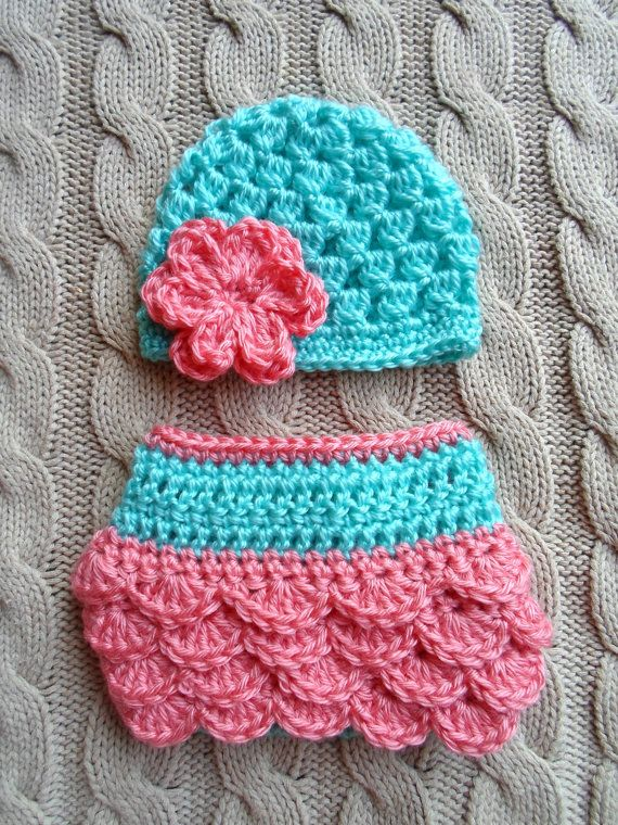 Cute Newborn Girl Hat and Diaper Cover in Aqua and Coral, Ready to Ship