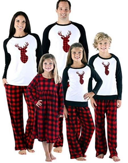 f96cd0257 Sleepy time Pjs Holiday Family Matching Fleece Deer Plaid Pajama PJ ...