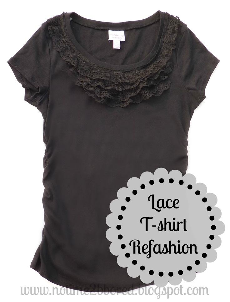 Easy Lace Ruffle T-shirt Refashion - Tutorial