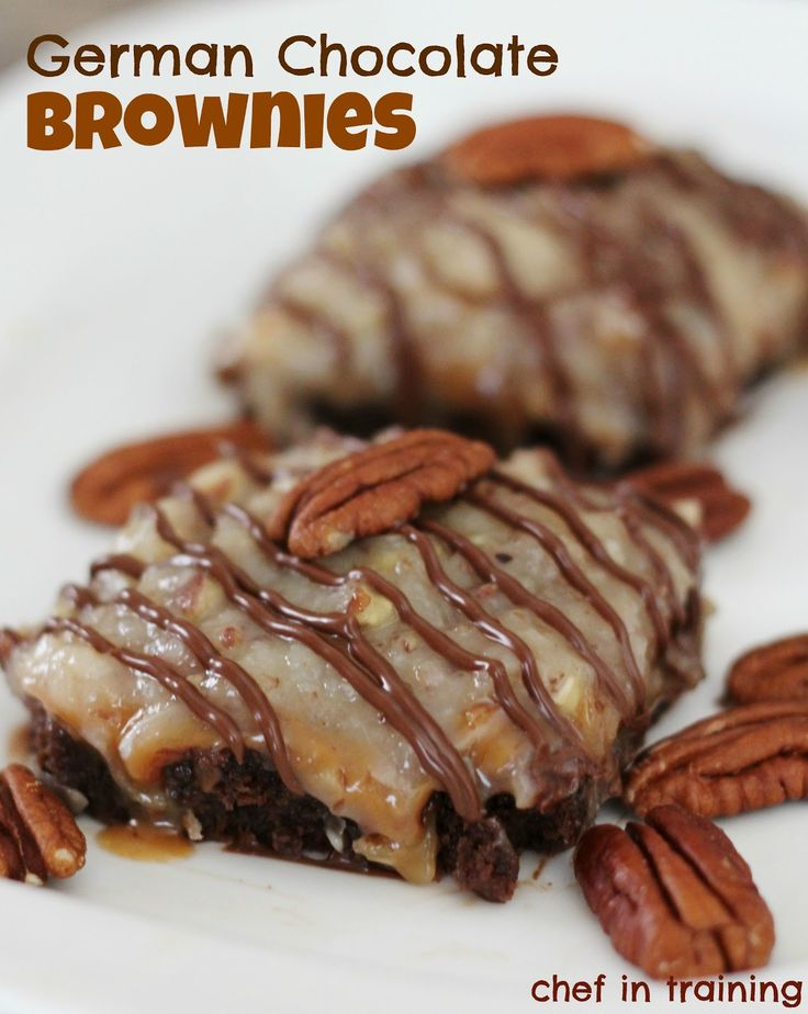 German Chocolate Brownies... rich fudgy brownies with the most delicious coconut pecan frosting over the top!