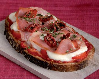 Tomato, ham and cheese tartine.