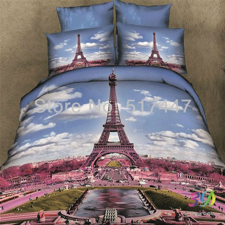 parijs eiffeltoren 3d gedrukte 4pc beddengoed set bed dekbed dekbedovertrek dekbed dekbedovertrek beddengoed in van op Aliexpress.com