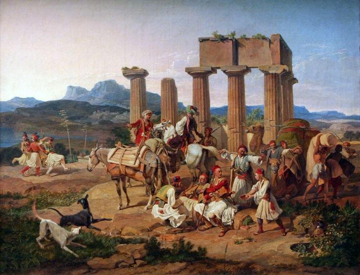 Palicars in front of the Tempel at Corinth