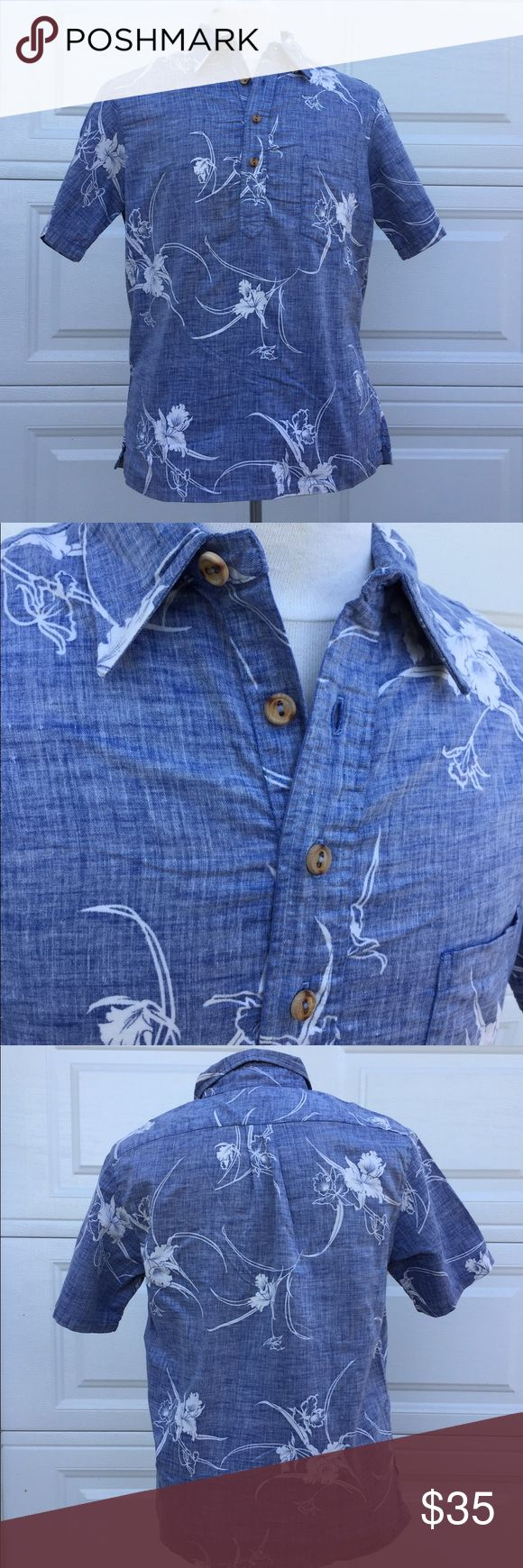 PK PRINCE KUHIO Short sleeve Hawaiian 🌺 Shirt - L PK PRINCE KUHIO Blue/White Short sleeve 4 button collar, 1 front chest pocket Hawaiian 🌺 Shirt. Made in Hawaii 👍🏽  Size: Large, 100% Cotton  Very nice white floral pattern on blue background. Made in Hawaii. If it fit me I wouldn't be getting rid of this one. Hoping it finds a good home 😎👍🏽.   Gently used in good condition. (Clean, smoke free, pet free home) Prince Kuhio Shirts Casual Button Down Shirts
