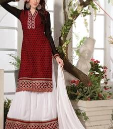Buy Holi Festival Special Red Cambric embroidered semi stitched salwar with dupatta pakistani-salwar-kameez online