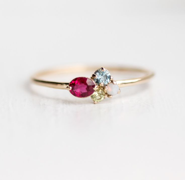 Custom mini cluster ring builder, Ruby, aquamarine, peridot and opal mini cluster ring