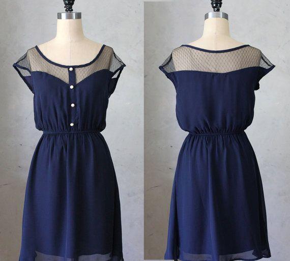 marine  robe en mousseline de par FleetCollection, $48.00