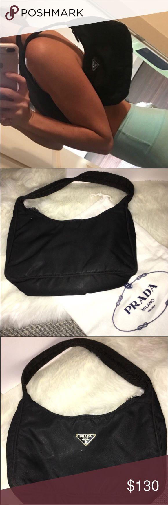 Prada Bag Black Prada bag. Sporty and chic! Comes with Prada cloth bag. Great condition. Prada Bags Mini Bags