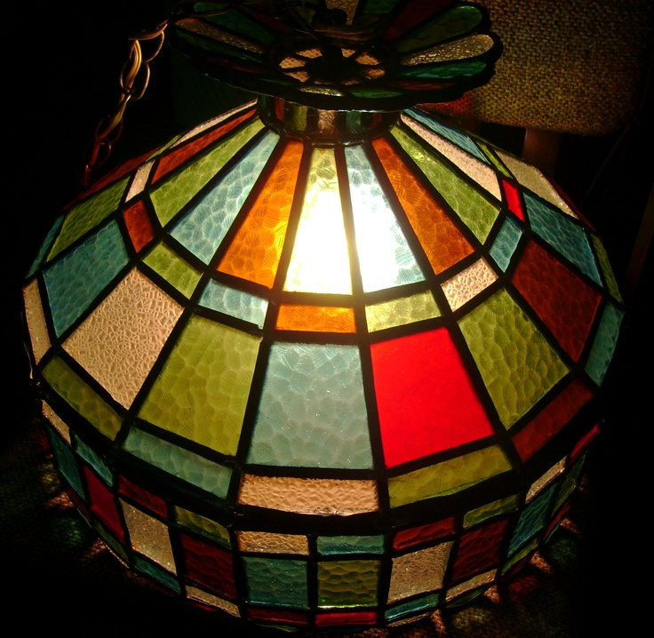 vintage stained glass light fixture love the colors sold. Black Bedroom Furniture Sets. Home Design Ideas