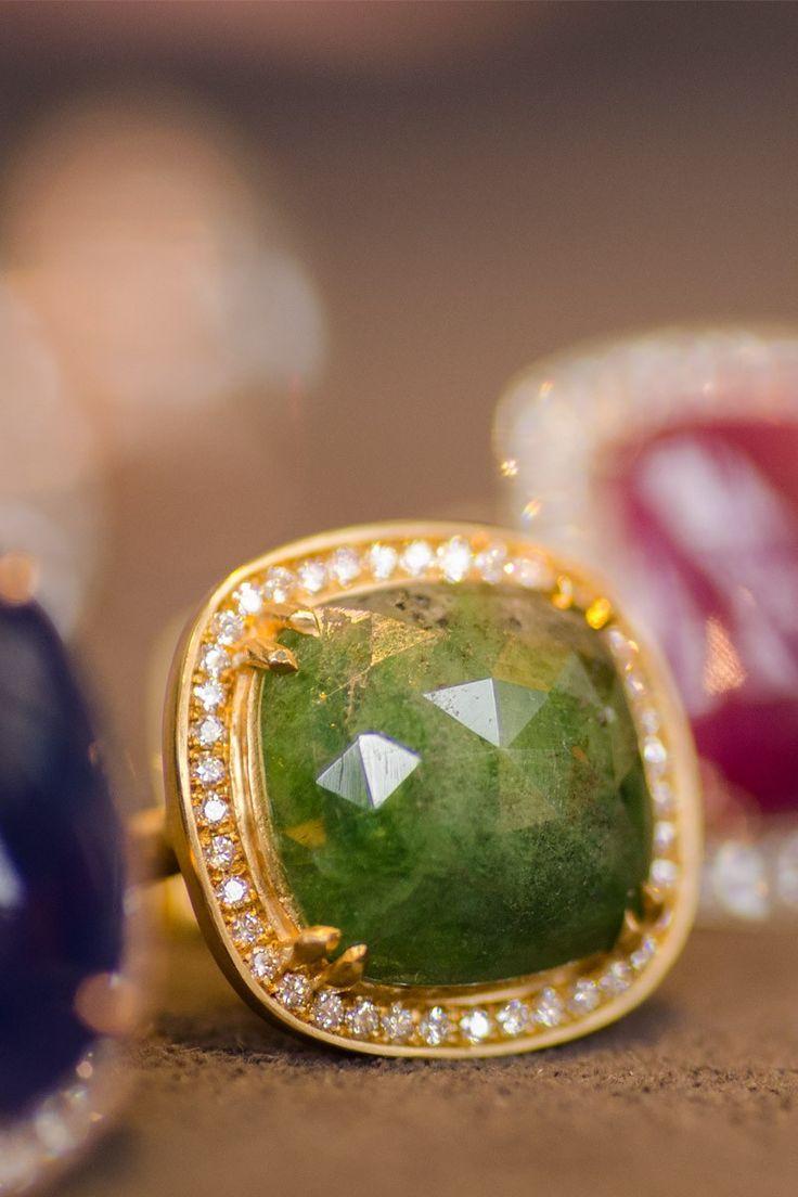 Anne sportun 8.14ct Rosecut Green Tsavorite & Diamond Ring | Oster Jewelers #MyBridalStyle #MyDiamondStyle
