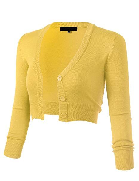 ea17f946b5 ARC Studio Women's Solid Button Down 3/4 Sleeve Cropped Bolero Cardigans S  Baby Yellow CO129 at Amazon Women's Clothing store: