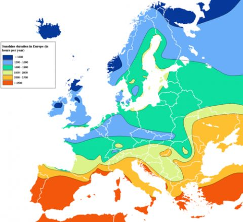 sunshine map of europe: European Sunshine, Sunshine Hour, Sunshine Europe, Cartography, Europe Maps, Hour Maps, Europe Sunshine, Sunshine Maps, Sunshine Durat