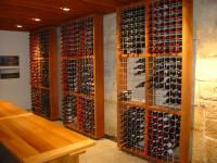 Solid Timber And Wire Mesh Wine Rack