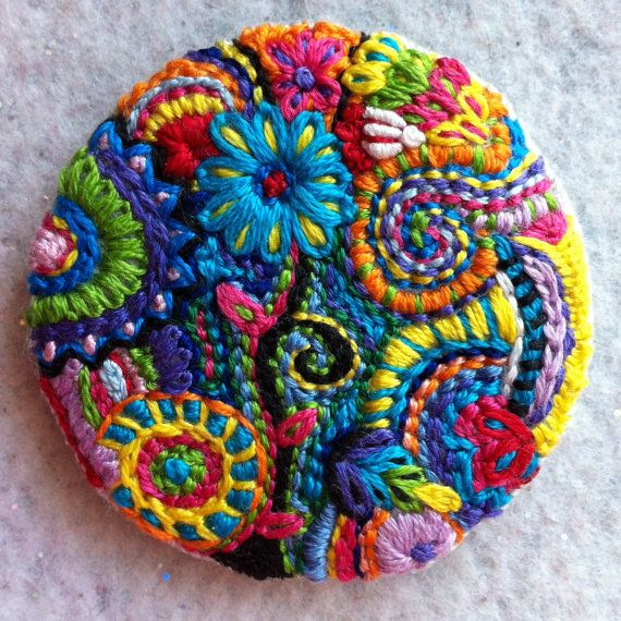 Colorful Embroidered Button