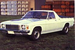 1977 Holden HZ utility. Mine had a canopy on the back most of the time.  Very practical, bench seat in the front, 3-speed column change and frighteningly slow.