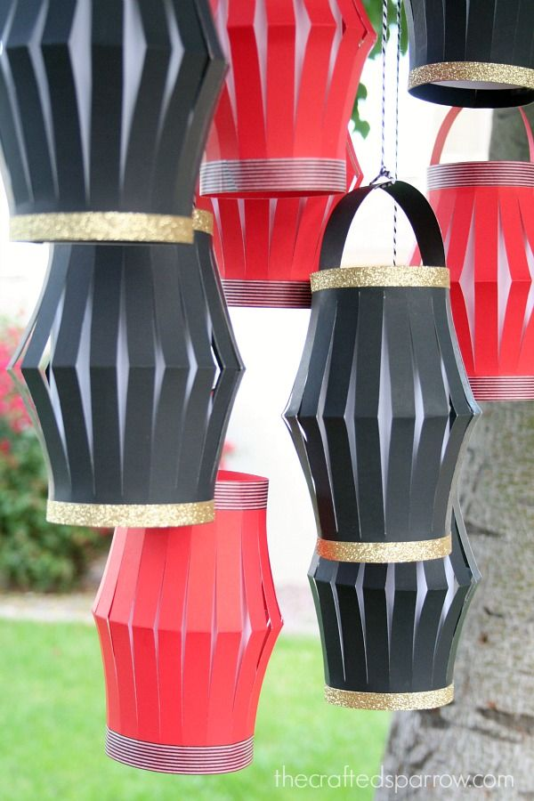 DIY Chinese paper lanterns with glitter & washi tape. Could also stick washi tape on every vertical strip