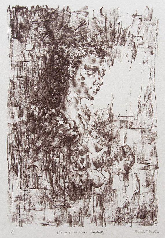 Lithograph - fertility goddess - goddess- Italian - Wall art - print -rennaisance - mysterious - Deconstruction Goddess - Nick Helton Design  https://www.etsy.com/listing/213861537/lithograph-fertility-goddess-goddess?ref=shop_home_active_7
