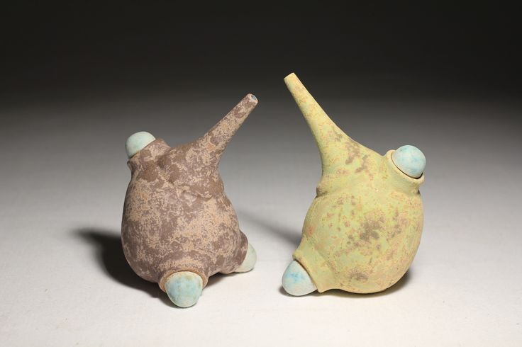 Blue Footed Oil Jugs, Daniel Cavey, wheel-thrown and altered stoneware