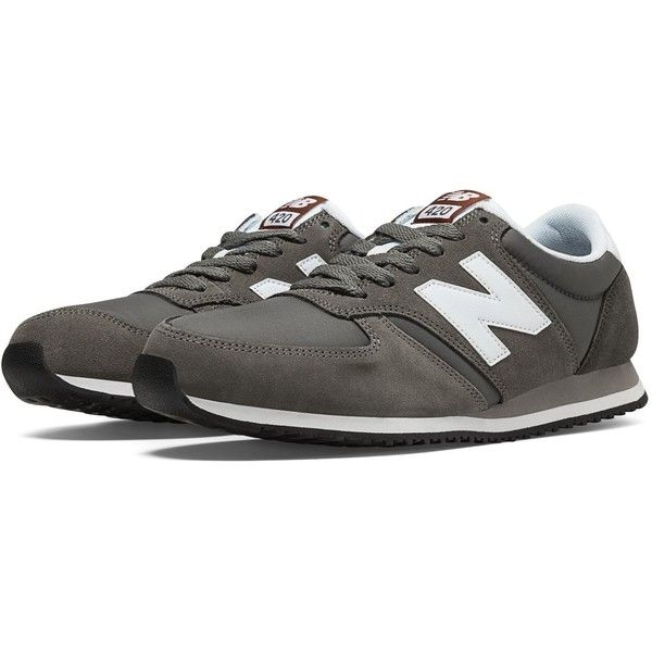 New Balance 420 70s Running Men's Running Classics Shoes ($60) ❤ liked on Polyvore featuring men's fashion, men's shoes, new balance mens shoes, mens navy shoes, navy blue mens shoes and mens shoes