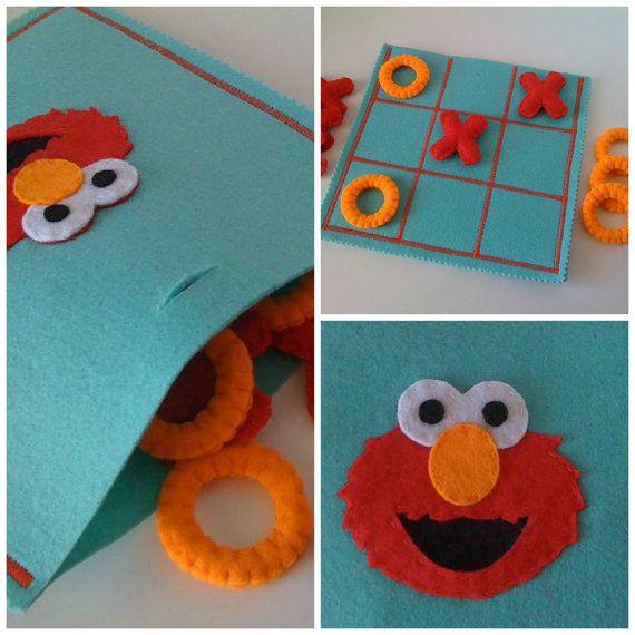 Sesame Street Tic Tac Toe Game Set   Elmo game  par twinsandcrafts, $35.00