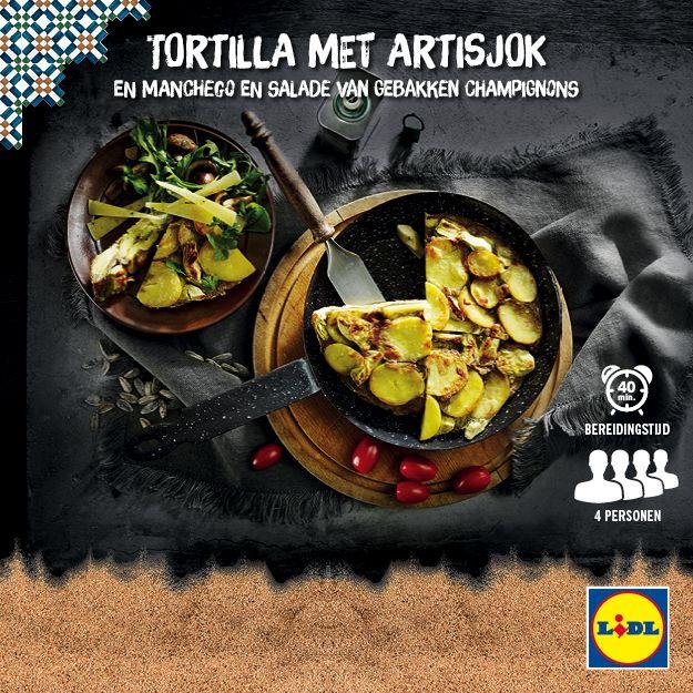 Recept voor tortilla met artisjok en manchego met salade van gebakken champignons #Lidl #SolYMar #Recept