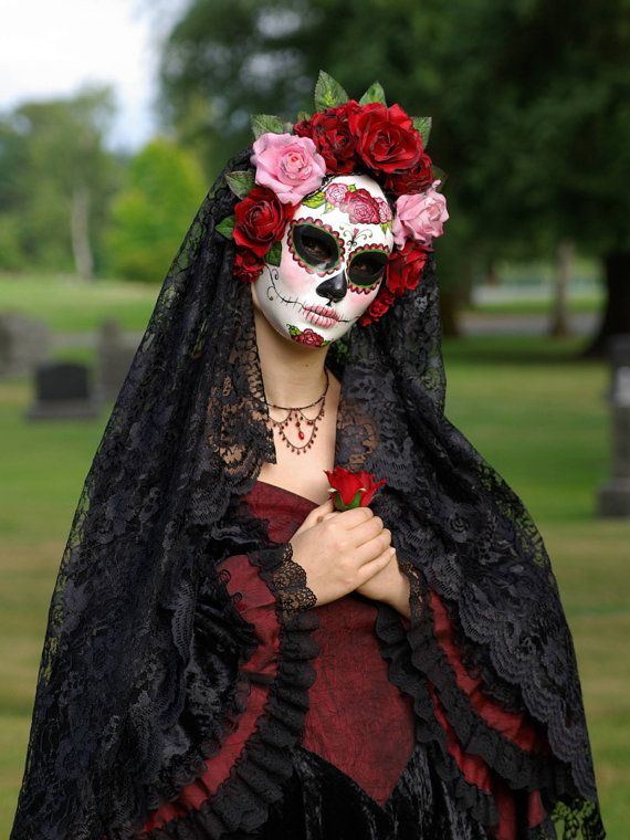- great idea for Halloween- face makeup, flowers from the craft store and a thin black shawl over your head!