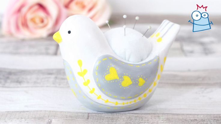 Turn a ceramic bird planter into a handy pin cushion with a Scandi pattern decoration.
