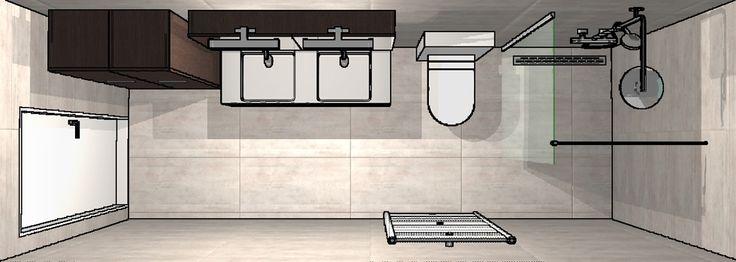 3D-ontwerp kleine badkamer