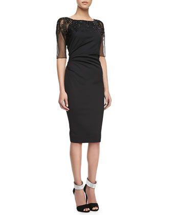 Crosshatch-Embroidered Dress, Black by Lela Rose at Bergdorf Goodman.