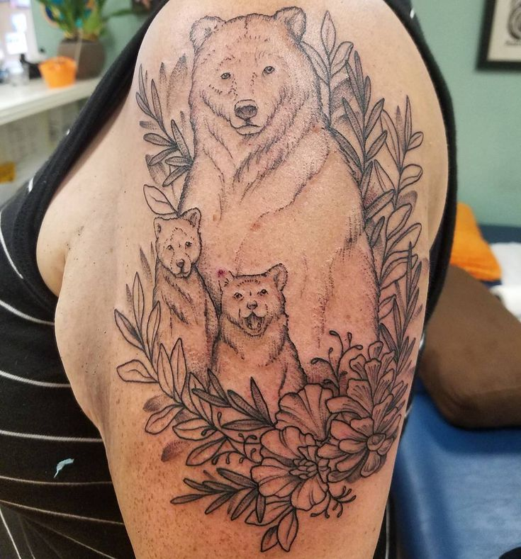 "Kim Stace Thomas on Instagram: ""Outlined a #bear #family today! #pinecone #poppy #animal #tattoo #tattoos #tattooed #sf #bayarea #chicago #work #california #wip"""