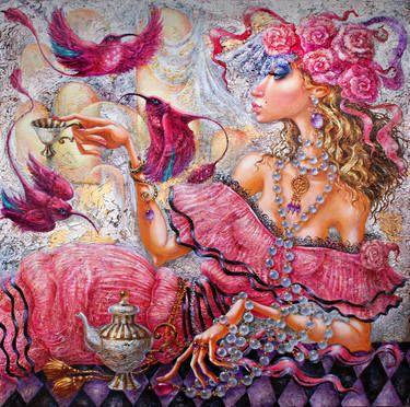 """Artist Elvira Baranova. Painting, """"Tea Lady""""."""